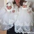 De lujo Con Gradas Vestidos de Bautizo con Sombrero Infantil Niñas Niños Encaje Apliques vestidos Del Bebé Bautismo