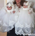 Luxury Tiered Christening Gowns with Bonnet  Infant Girls Toddlers Lace Appliques Baby dresses Baptism Robe