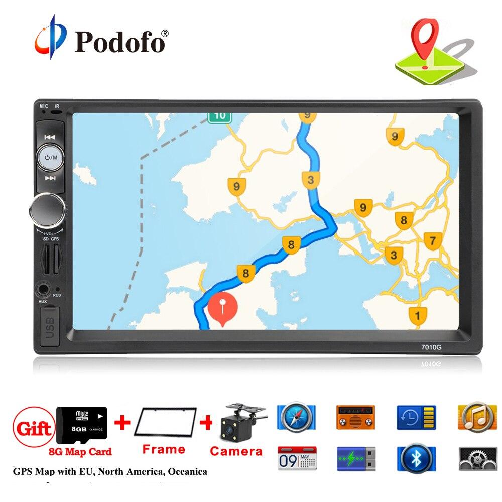 Podofo 2 din autoradio Car Radio Multimedia Player GPS Navigation Camera Bluetooth MP4 MP5 Stereo FM Audio Auto Electronic 7010G