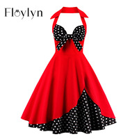 Floylyn Summer Vintage Dress Retro Stitching Polka Dots Sleeveless A Line Party Dress Bowknot Cute Strap