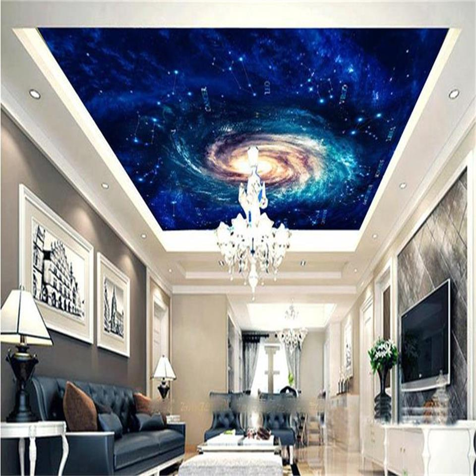 Custom size 3d wallpaper ceiling room mural photo cosmic for Constellation ceiling mural