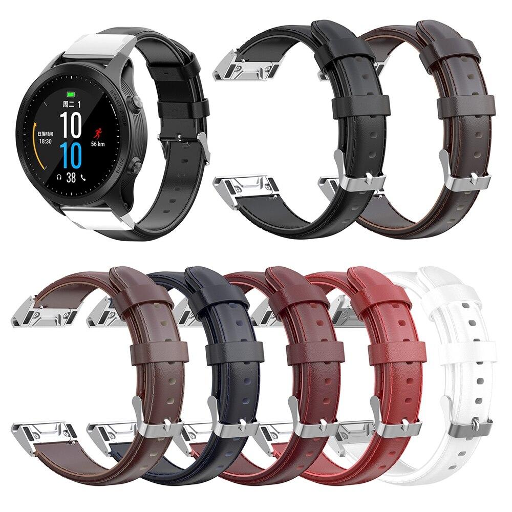 22mm Genuine Leather Watch Strap For Garmin MARQ fenix 5/5Plus forerunner 935/945 quatix 5/5 Sapphire Approach S60 Wristband|Smart Accessories| |  - title=