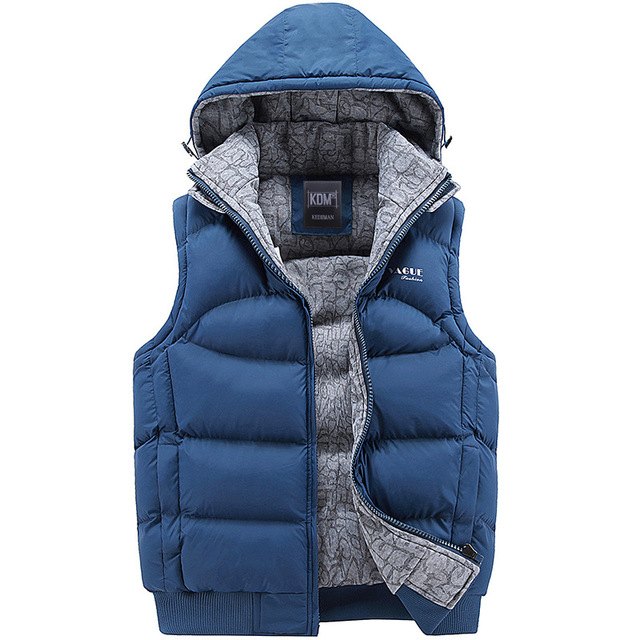 2017 New Mens Jacket Sleeveless Veste Homme Winter Fashion Casual Coats Hooded Cotton-Padded Vest Men Thickening Waistcoat