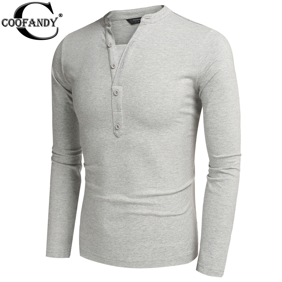 Coofandy men henley shirt button design tee tops long for Men s thermal henley long sleeve shirts