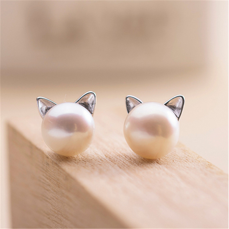 H:HYDE Fashion Simulated Round Pearl Earring Stud Silver Color Stainless Steel Cute Cat Earring Fashion Wedding Pearl Jewelry