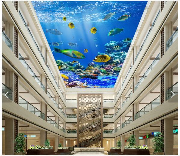3d Wallpaper Custom 3d Ceiling Wallpaper Murals Underwater