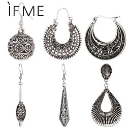 IF ME New Vintage Silver Color Earrings For Women Style Accessories Dangle Earrings Mujer Jewelry Retro Aros Long Love Brinco