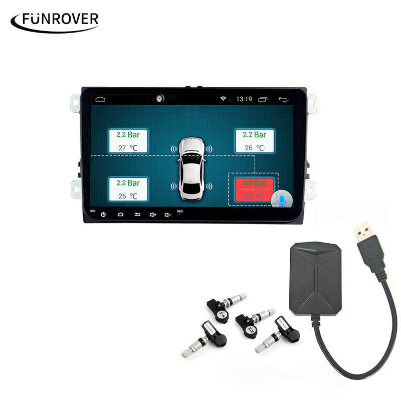Car TPMS Android Funrover For DVD Player Monitor Wireless Tire Pressure Monitoring System with 4 Internal Tyre Sensors careud u903 wf tpms wireless tire pressure monitor with 4 external sensors