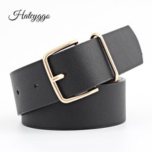 HATCYGGO 2019 Belt Female PU Leather/Waist/Black/Wide For Women Vintage Strap Metal Pin Buckle Belts Ladies Jeans