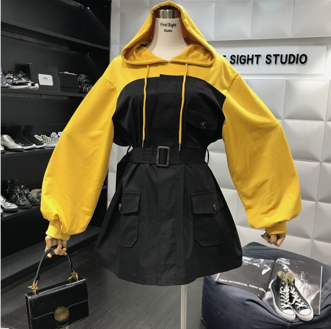 30b6f9654 2019 New Spring and Autumn Women's Color Block Hooded Loose Sweatshirt Dress  Students Casual Fake Two