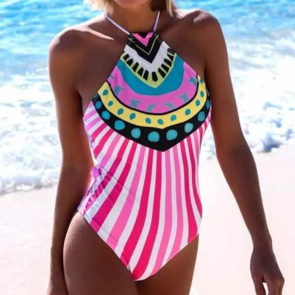 Womail Swimwear Women 2018 Monokini One Piece Swimsuit Sexy Stripe Printed Bikini Push Up Padded Swiming suit maio praia #7659