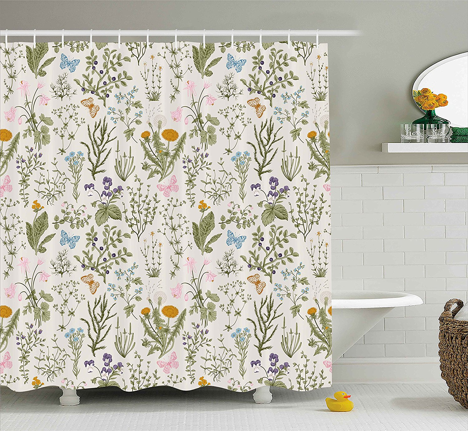 Floral Shower Curtain Vintage Garden Plants With Herbs