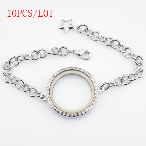 10pcs Lot 30mm Round Magnetic Floating Bracelet With Rhinestones Charms Adjule