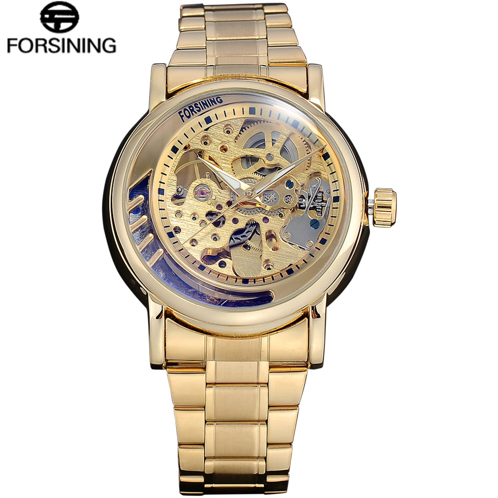 FORSINING Top Brand Luxury Automatic Mechanical Mens Watch Skeleton Stainless Steel Bracelet Self-wind Wrist Watches Men Clock top luxury sewor big automatic military watch men gift gold stainless steel diamond skeleton clock mechanical mens wrist watches