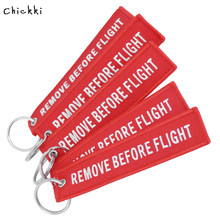 цены Remove Before Flight Key Chains Trendy Keyring Embroidery Polyester Fabric Key Protector Commemorative Keychain Buckle
