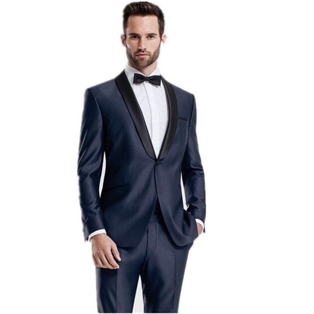 New Midnight Blue Wedding Suits Mens Suit Slim Fit Groom Tuxedos ...