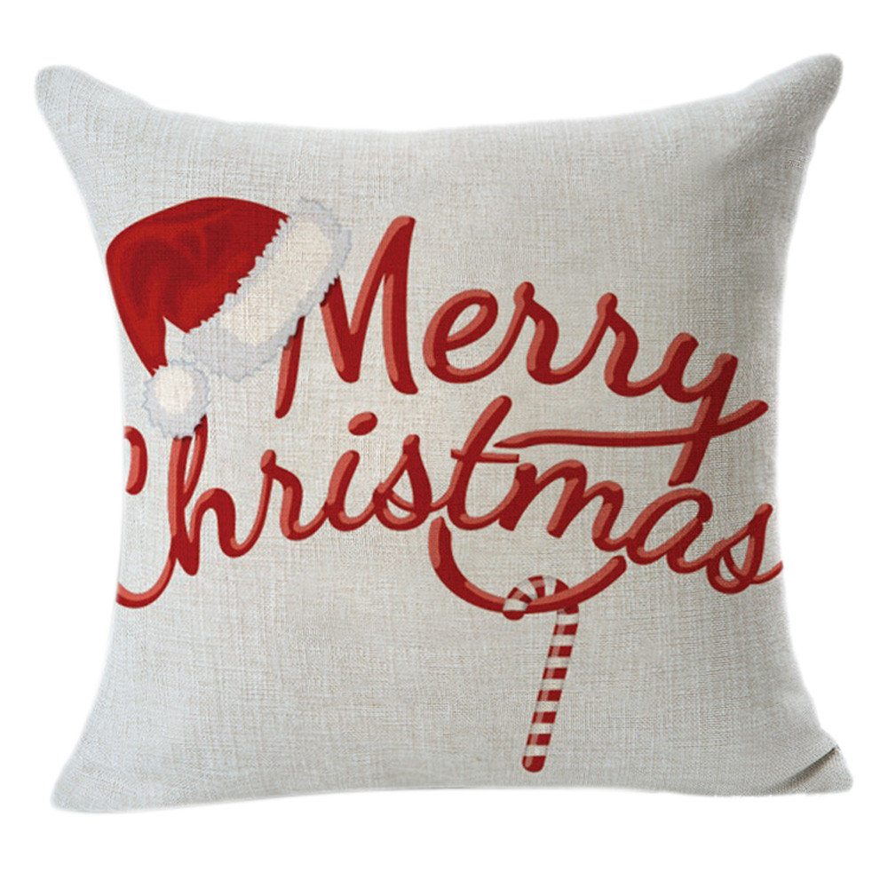 Christmas Pillow Case Linen Square Throw Flax pillow Case Decorative Cushion Pillow Cover Christmas Decorations For Home