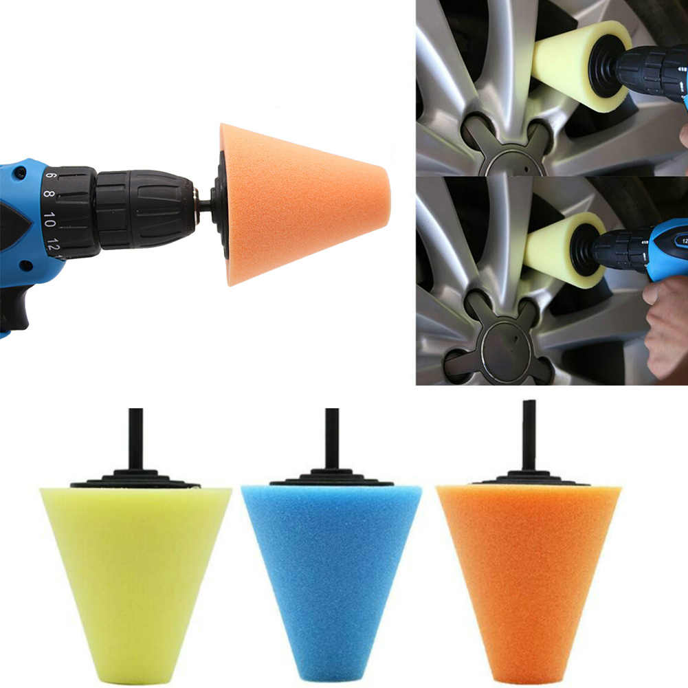 1 pcs Hot Tire Repair Tools Burnishing Foam Sponge Polishing  Cone Shaped Buffing Pads for Car Wheel Hub Tool Car Cleaning Brush