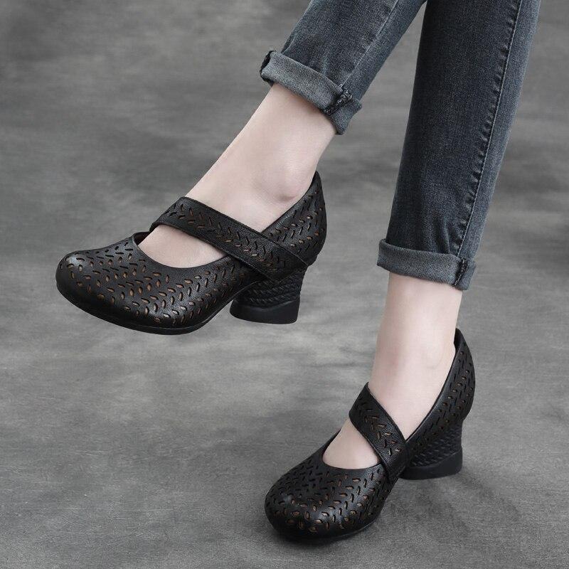Tyawkiho Echtem Leder Frauen Pumpen Kaffee 6 CM High Heels Schuhe Aushöhlen Sommer Ankle Strap Pumpe Handgemachte Frauen Leder schuh-in Damenpumps aus Schuhe bei  Gruppe 1