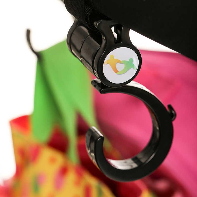 แพ็ค 2 ชิ้นเด็กอเนกประสงค์รถเข็นเด็กตะขอหมุนแขวนเด็กรถเข็นเด็กอุปกรณ์เสริม