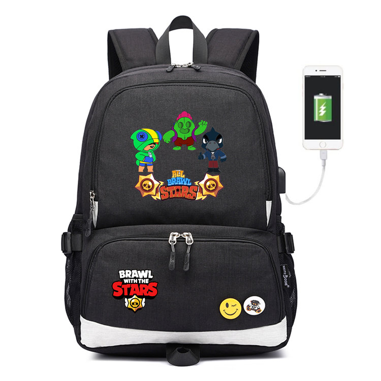Canvas Backpack Laptop Shoulder-Bag Travel-Bag Brawl Stars Children Rucksack Usb-Charging