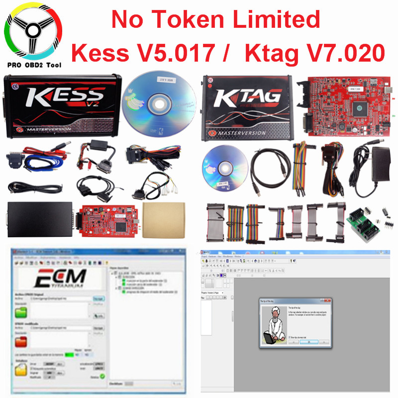 Online EU Red Kess V5.017 Kess v2 v5.017 No Token Ktag V7.020 4 LED OBD2 Manager Tuning Kit K-TAG 7.020 Master V2.23 ECU Tools dhl free shipping kess v2 obd2 tuning kit v2 10 ecu kess v2 master no token limitation 2 years warranty