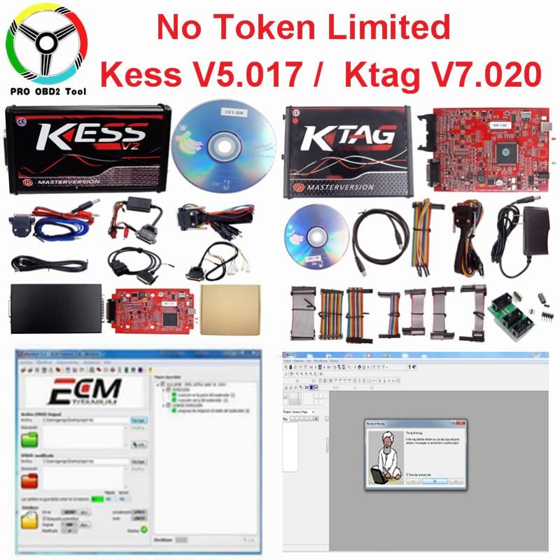 Online EU Rot Kess V5.017 Kess v2 v5.017 Kein Token Ktag V7.020 4 LED OBD2 Manager Tuning Kit K-TAG 7,020 master V2.23 ECU Werkzeuge