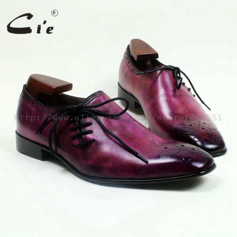 cie Square Toe Genuine Calf Leather Outsole Breathable Custom Handmade Men's Casual Flats Shoe Lace-Up Hand-Painted Purple OX517 candy cie 4630 b3