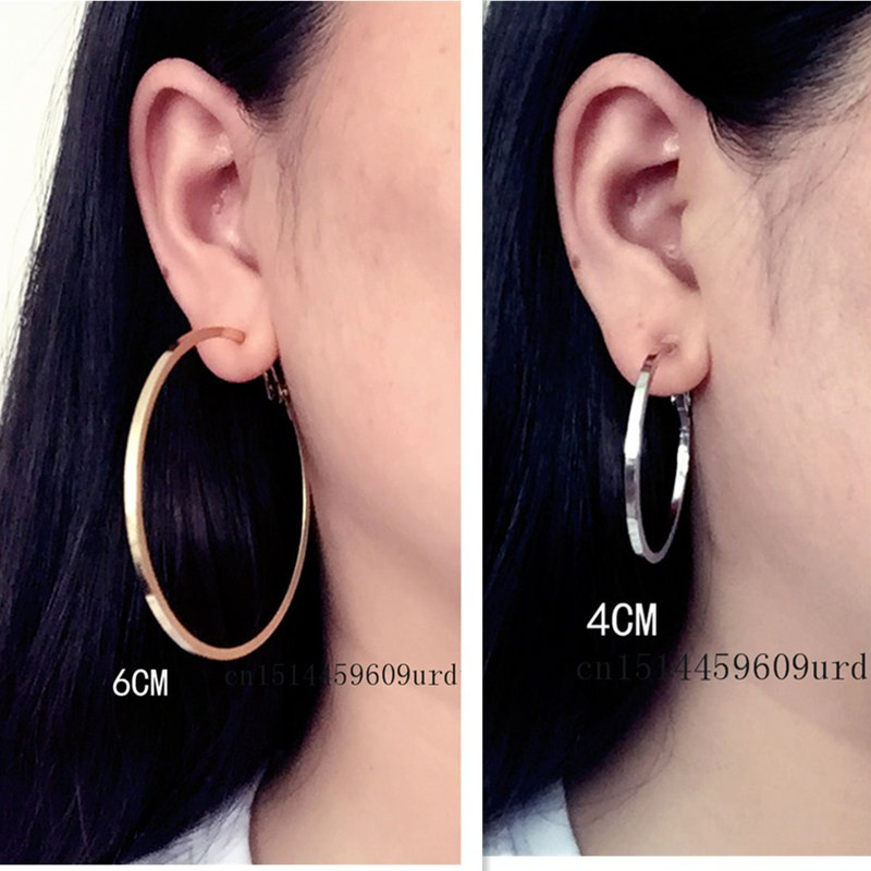 Big small circle gold silver Square line Round Clip on the ear Earrings Hoop for women with cushion pad without piercing Fashion