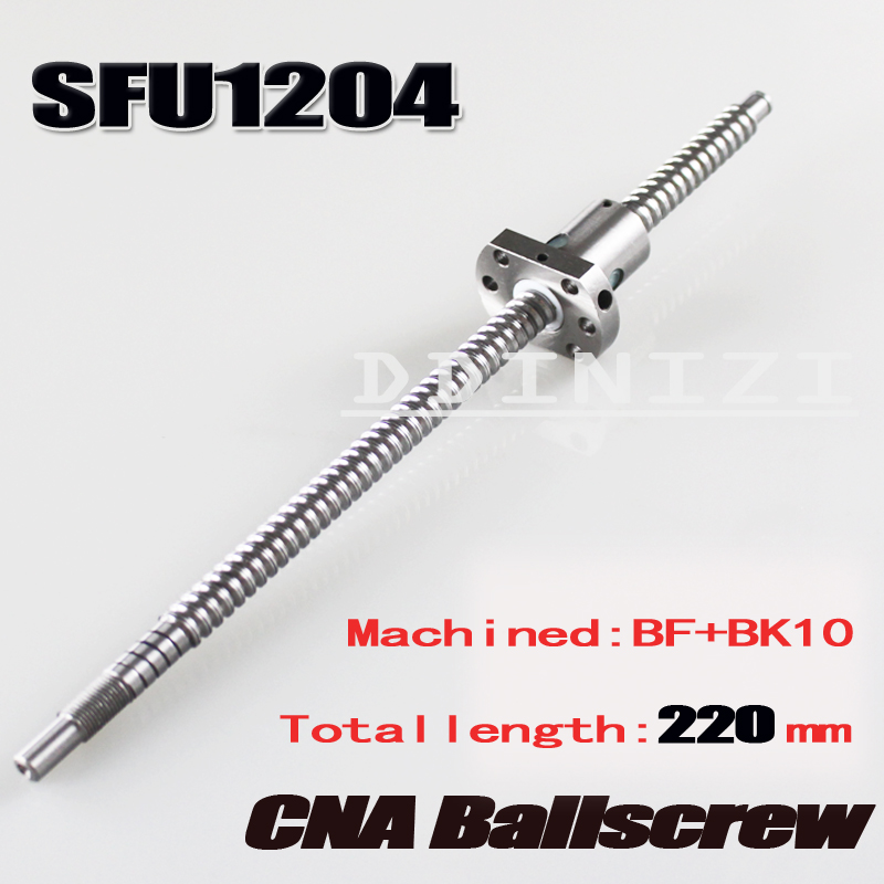 SFU1204 220mmBallscrew With SFU1204 Single Ballnut For CNC parts BK/BF10 machined Woodworking Machinery Parts Free Shipping axk sfu1204 200mm ballscrew with sfu1204 single ballnut for cnc parts bk bf10 machined