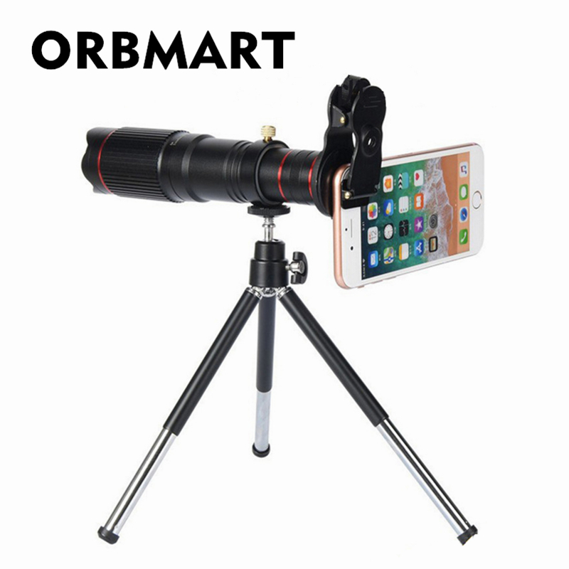 ORBMART Universal Clip Holder 22X 4K HD Fixed Focus Telephoto Telescope Smartphone Mobile Phone Lense With Collection Bag