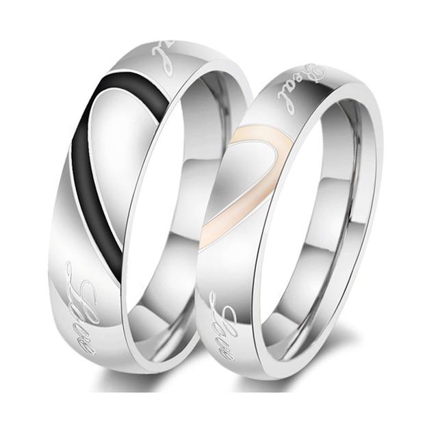Barato Titanium Steel juego amor corazón boda anillo de compromiso Alianza 6b214237110