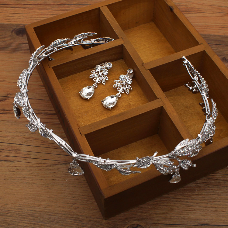 Crown famous brand 3 pieces Headwear + earrings + necklace bride  Crystal Crown headdress jewelry sets Korean wedding girlfriend gift (7)