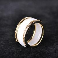 Dazz Dziennik Style Biały Szeroki Ceramika Pierścionki Kobiety Lady Wedding Ring Finger Akcesoria Cyrkon Miedź Cienkiej Porcelany Bijoux
