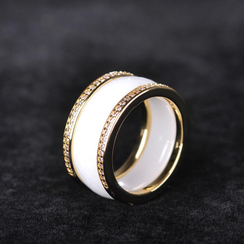 Dazz Nuevo estilo oficial Blanco Anillos de cerámica anchos Mujeres - Bisutería