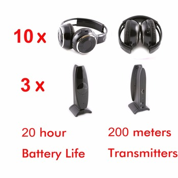 Silent disco Wireless 10 foldable headphones with 3 transmitters - RF Silent Disco earphones For iPod MP3 DJ music pary club