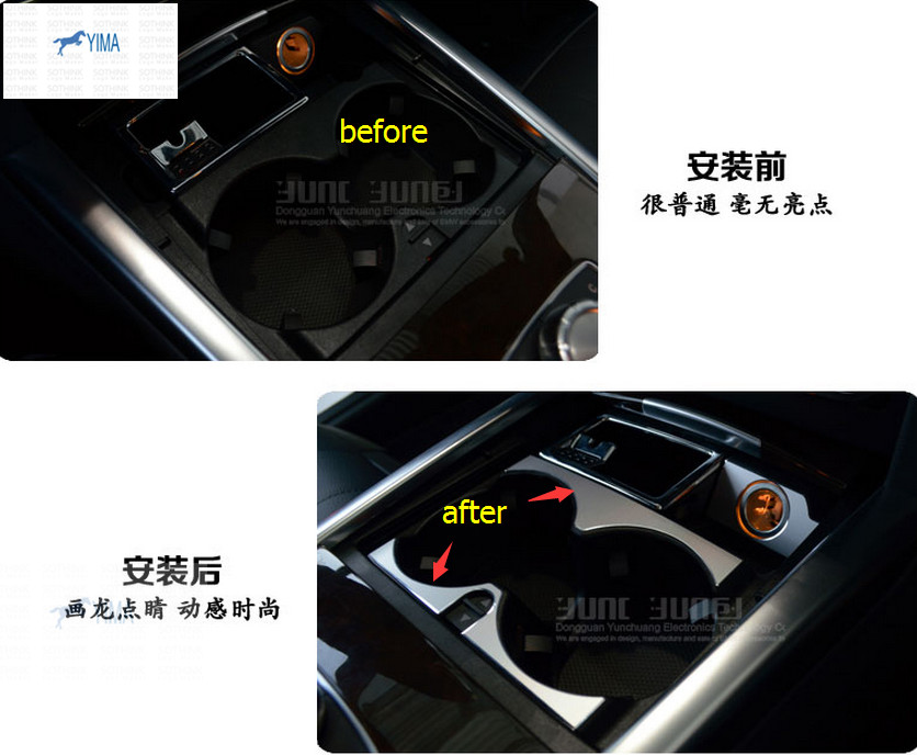 Interior For Mercedes Benz E Class W212 2014 2015 Metal Water Cup Holder Armrest Box Decoration Cover Trim dhl shipping 23pc x error free led interior light kit for mercedes for mercedes benz e class w212 e350 e400 e550 e63amg 09 15