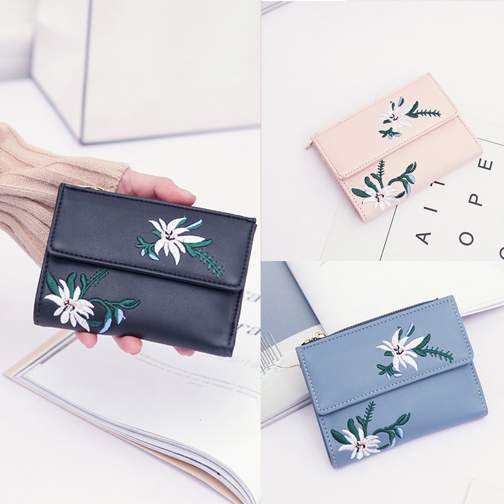 Superior Quality Women Embroidery Floral Clutches Wallet Handbag Cardbag Tote Ladies Purse birthday present X# dropship