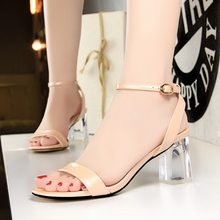 eea2c8512f 2018 Summer Casual Women Fashion Clear Heels Sandals 7cm Block Low High  Transparent Heels Female Sandalias Leather Jelly Shoes