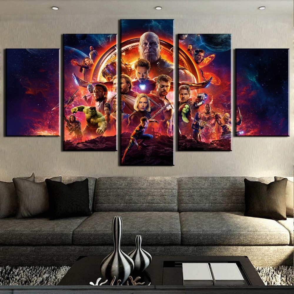 5 Pieces Movie Marvel Avengers Infinity War Poster Canvas