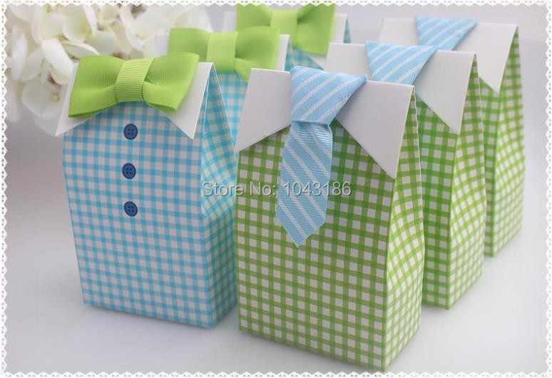 Us 38 64 8 Off My Little Man Blue Green Bow Tie Birthday Boy Baby Shower Favor Candy Treat Bag Wedding Favors Box Gift Bags 100pcs Lot In