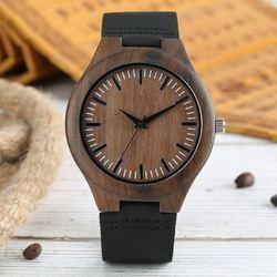Męskie drewniane zegarki Retro drewno hebanowe etui zielona tarcza ręcznie grawerowana skala Casual wojskowy zegar sportowy Man Quartz Wrist Watch