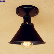 IWHD Black Edison Vintage Ceiling Light Fixtures Living Room Loft Industrial LED Ceiling Lights For Home Lighting Lampara Pared iron wrount edison vintage ceiling lights fixtures home lighting edison led ceiling lamp industrial plafon lampara techo