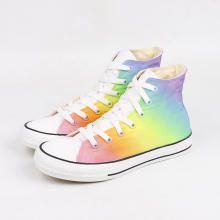 купить 2019 Shoes Women Spring Autumn Cute Rainbow Hand-painted Canvas Sneakers New Designer High-top Flat Fashion Casual Ladies Large по цене 1649.29 рублей