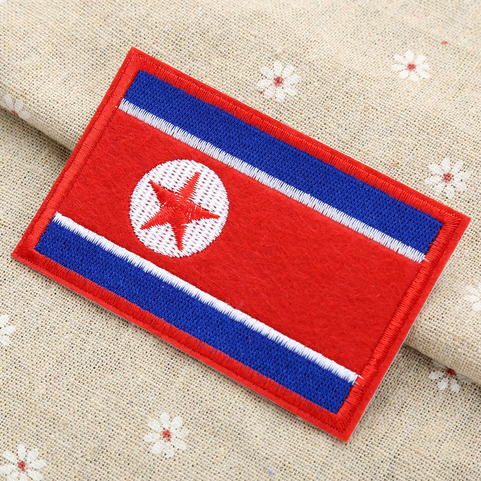 North Korea Country Flag Clothes Patch DIY Flowered Skeleton Embroidered Patches Iron on Fabric Badges Sew on Cloth Applique image