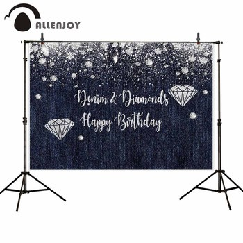 Allenjoy twins birthday photo backdrops diamond gray denim luxurious Custom name background cloths photography photocall boda image