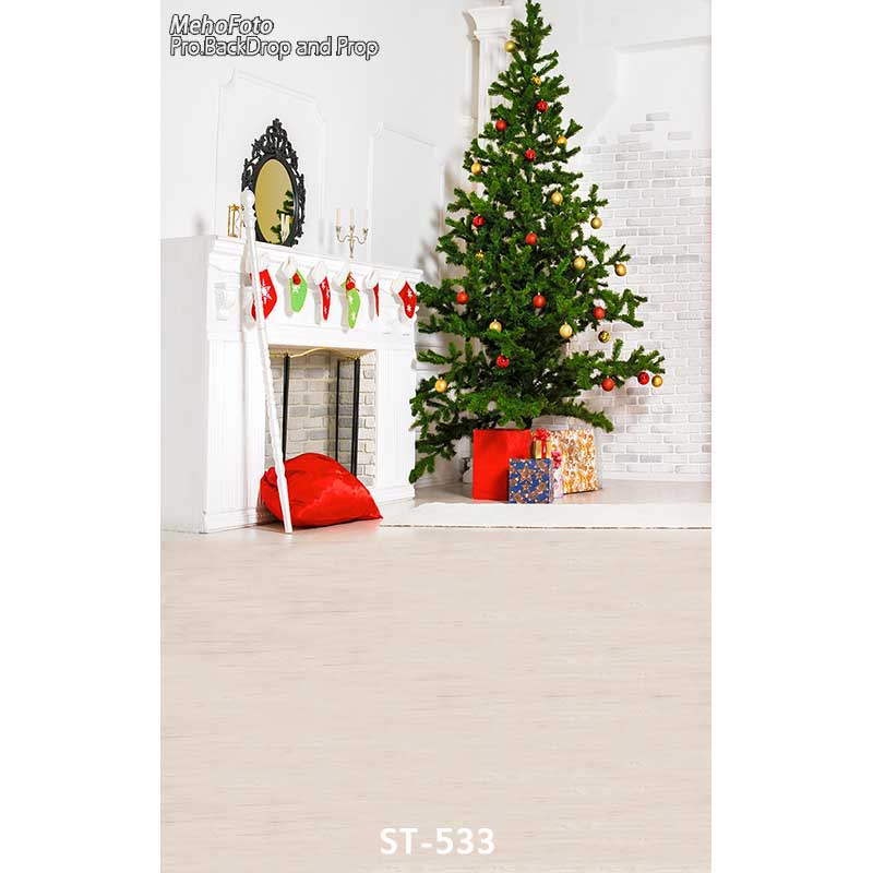 Christmas background vinyl photography backdrops Computer Printed christmas fire place tree and Gift box for Photo studio ST-533 white 3d decorations xmas tree hall fireplace room backdrops vinyl cloth computer printed christmas photo studio background