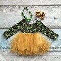 Bebé niñas st. martin's día tréboles estampado de algodón boutique de falda linda dress ropa verde primavera desgaste juego del cabrito accesorios
