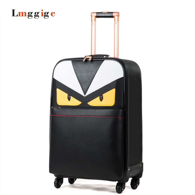 162024 inch Monster Luggage Carry-on ,PU leather Suitcase,Universal wheels Trolley Carrier,Lightweight drag box with password