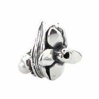 Solide 925 Sterling Argent Narcisse de Décembre Avec Blanc Perle Charms Perles Convient Européenne Marque Troll 3.0mm Bracelet Bijoux